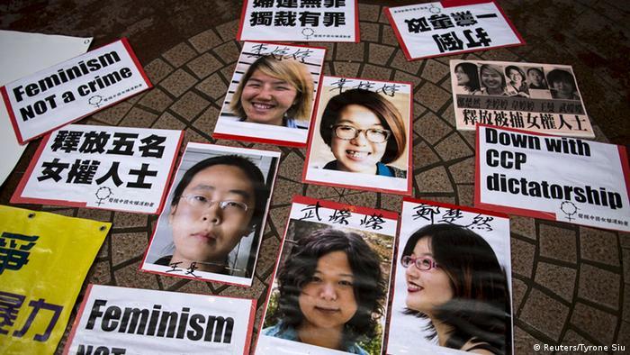 Portraits von Frauenrechts-Aktivistinnen Li Tingting, Wei Tingting, Wang Man, Wu Rongrong und Zheng Churan