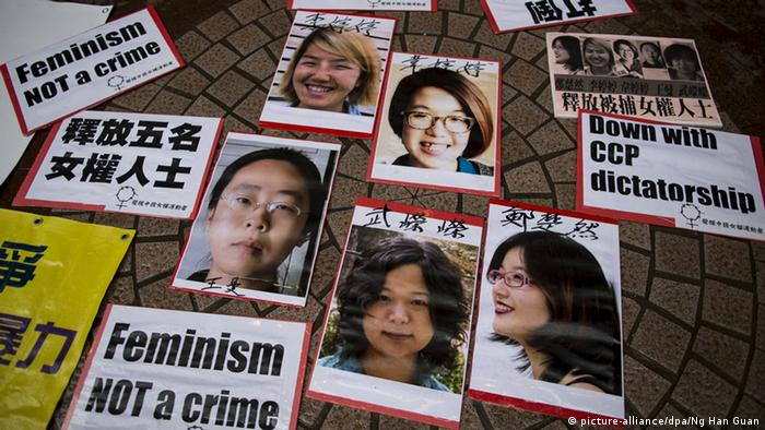 Portraits of Li Tingting (top L), Wei Tingting (top R), (bottom, L-R) Wang Man, Wu Rongrong and Zheng Churan are pictured during a protest calling for their release in Hong Kong April 11, 2015. REUTERS/Tyrone Siu