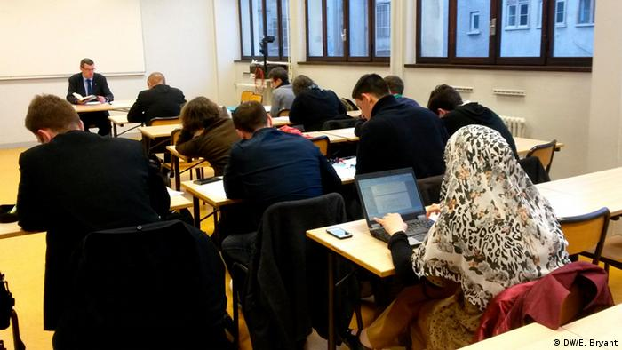 Muslim students in a secularism class at Lyon's Catholic University