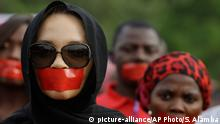 13.04.2015 * People march during a silent protest calling on the government to rescue the kidnapped girls of the government secondary school in Chibok, who were abducted a year ago, in Abuja, Nigeria, Monday, April 13, 2015. Nearly 300 schoolgirls from Chibok were abducted in a mass kidnapping on the night of April 14-15. Dozens escaped on their own but 219 remain missing. (AP Photo/Sunday Alamba)