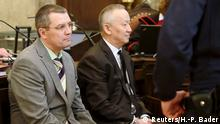 14.04.2015 Co-defendents of Rakhat Aliyev, former head of the Kazakh secret service KNB Alnur Mussayev (R) and Vadim Koshlyak, sit in the dock before their trial in Vienna April 14, 2015. A Vienna court on Tuesday started a trial on the 2007 murder of two Kazakh bankers with the main suspect - the Kazakh president's former son-in-law Rakhat Aliyev turned political foe - absent as he reportedly committed suicide a few weeks earlier. Mussayev and Koshlyak are accused of crimes including murder and rape. REUTERS/Heinz-Peter Bader