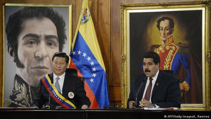 Xi Jinping visita a Maduro en el Palacio Miraflores de Caracas, el 20 de julio de 2014