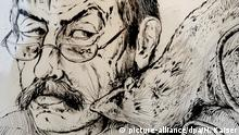 Der Innenraum der Trinitatiskirche in Köln spiegelt sich am 21.09.2012 in der Verglasung des Bildes Selbst mit Ratte aus dem Jahr 1985 von Günter Grass. Anlässlich des 85. Geburtstags des Dichters sind in der evangelischen Kirche bis zum 17. Oktober 2012 bildkünstlerische Werke von Günter Grass zu sehen. Foto: Henning Kaiser dpa/lnw +++(c) dpa - Bildfunk+++