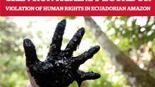 Plakat einer Konferenz über den Fall Ecuador gegen Erdölfirma Chevron