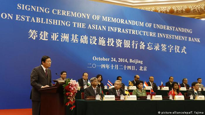 Peking AIIB Entwicklungsbank Gründung Zeremonie Memorandum