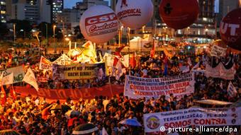 Demonstration in Sao Paulo, Brasilien