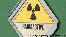 A radioactivity warning symbol on a 'CASTOR' container (AFP/Getty Images/K. Tribouillard)
