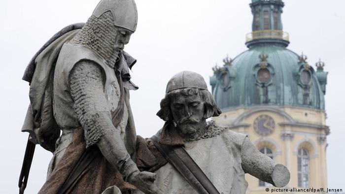 A statue of John I, Margrave of Brandenburg, and his brother Otto III before being moved from outside Charlottenburg Palace