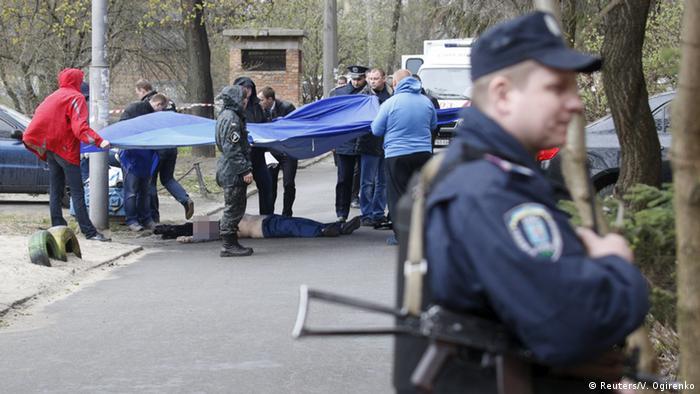 На місці вбивства Олеся Бузини (фото з архіву)