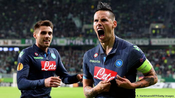 Napoli's Slovakian midfielder Marek Hamsik celebrates after scoring his team's second goal