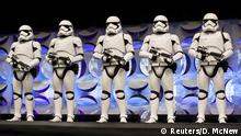 Redesigned stormtroopers appear onstage at the kick-off event of the Star Wars Celebration convention in Anaheim, California, April 16, 2015. REUTERS/David McNew