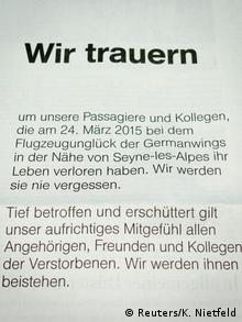 Traueranzeige der Lufthansa (Foto: dpa)
