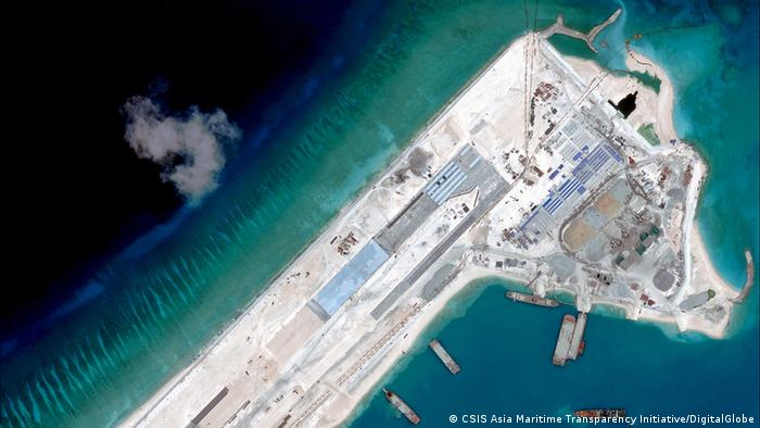 Photo of the Fiery Cross reef shows the runway under construction