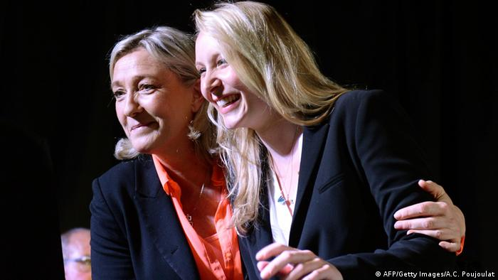 The Front National's Marine Le Pen and Marion Marechal-Le Pen at a political rally (AFP/Getty Images/A.C. Poujoulat)