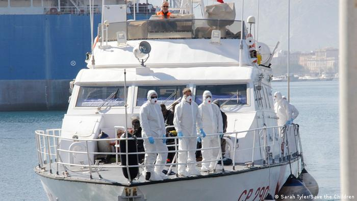 Migrants rescued at sea arrive in Palermo, Sicily on April, 18 (photo: Sarah Tyler/Save the Cildren)