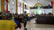 Wache für 11 von der linken FARC-Guerrilla getöteten Soldanten am 17. April in Kolumbien Bitte Copyright aufs Bild: Presidencia de Colombia