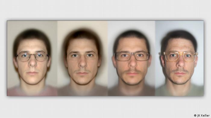 Vier Passbilder eines mannes nebeneinander J.K. Keller, 4 Averages, 2014