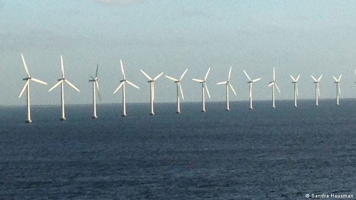 Wind turbines out at sea