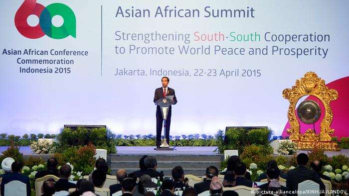 Indonesian President Joko Widodo addresses the opening of the Asian-African Summit in Jakarta, capital of Indonesia, on April 22, 2015 Photo: Xinhua/Xie Huanchi) (mcg) XINHUA /LANDOV
