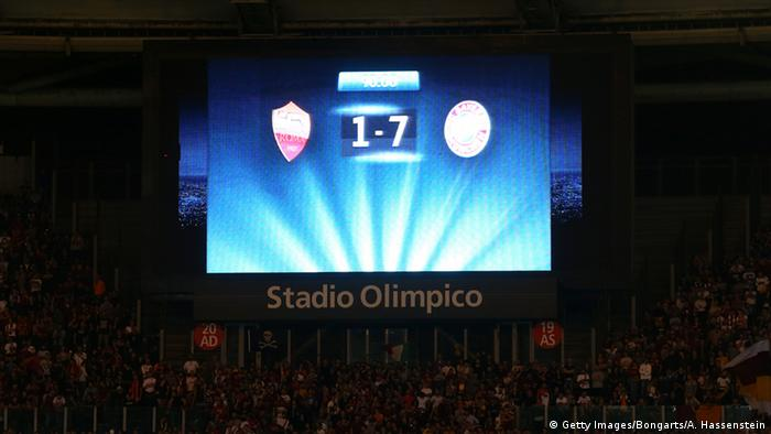 Scoreboard from Roma and Bayern game