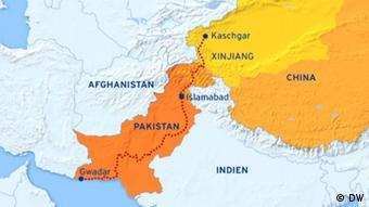 Karte China Pakistan geplanter Wirtschaftskorridor Gwadar - Kaschgar