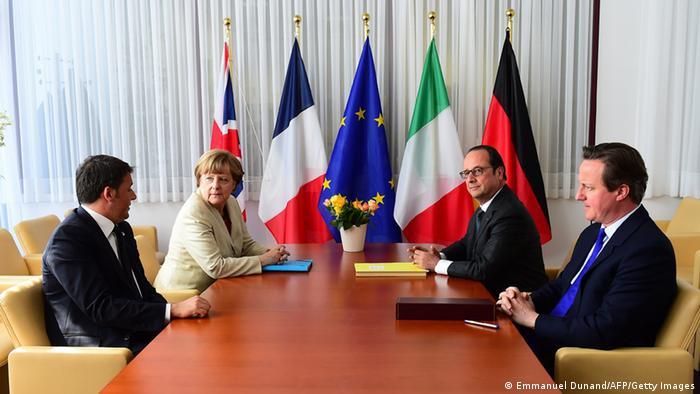 EU Sondergipfel Renzi & Merkel & Hollande & Cameron