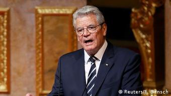 President Gauck makes a speech