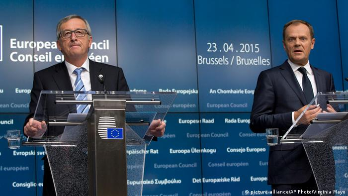 European Commission President Jean-Claude Juncker, left, and European Council President Donald Tusk participate in a media conference after an emergency EU summit at the EU Council building in Brussels on Thursday, April 23, 2015