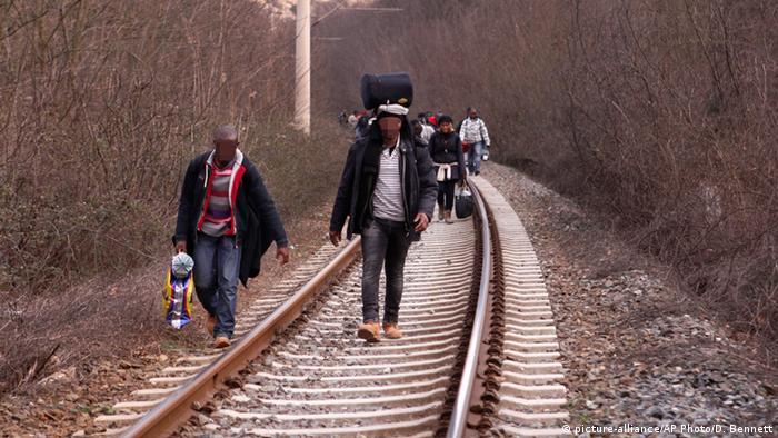 Griechenland Mazedonien Grenze Fl�chtlinge aus Afrika