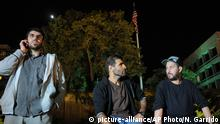 24.4.2015 *** Three freed Guantanamo Bay detainees, who were resettled in Uruguay, protest outside the U.S. embassy in Montevideo, Uruguay, Friday, April 24, 2015. From left are Omar Abdelahdi Faraj and Ali Husain Shaaban, both of Syria, and Adel bin Muhammad El Ouerghi, of Tunisia. The men are protesting after they were asked to leave a hotel where some stayed periodically, and demand Washington help them financially. They say the house where they were initially resettled didn't have enough space for all of them. The men spent 12 years at the U.S. military prison but were never charged and released after officials determined they were no longer a threat. (AP Photo/Nicolas Garrido) URUGUAY OUT - NO PUBLICAR EN URUGUAY