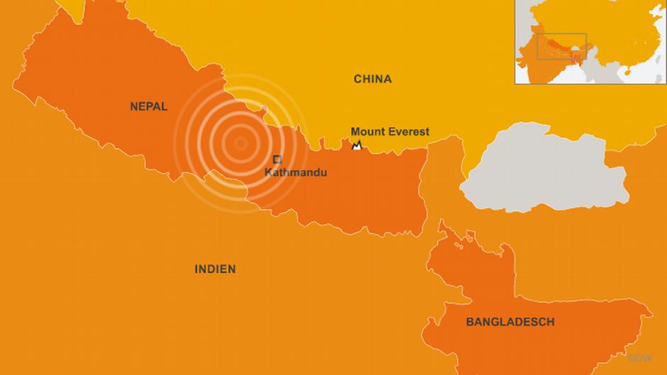 Karte von Nepal, Indien, China, Bangladesch und der Mount Everest-Region (Quelle: DW)