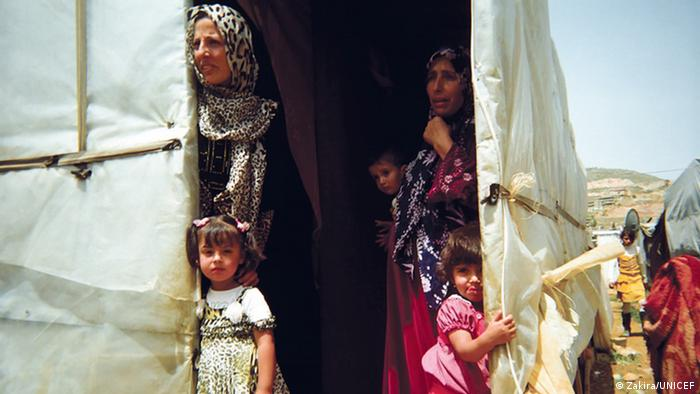 Syrian women and children in a displacement camps in Lebanon