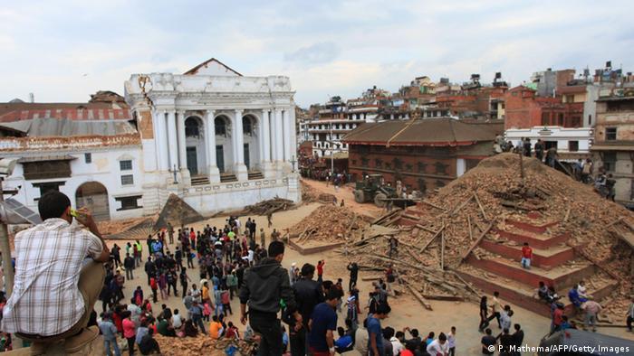 Durbar Square in Kathmandu, after the earthquake. Copyright: PRAKASH MATHEMA/AFP/Getty Images