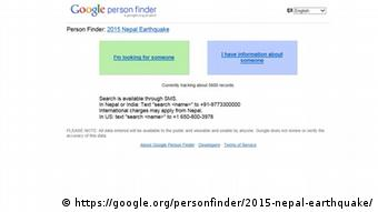 Screenshot Google Person Finder Nepal