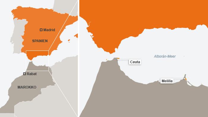 Karte Melilla und Ceuta