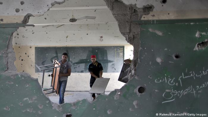 یکی از مدارس تخریب شده سازمان ملل در غزه