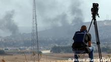 Syrien Pressefreiheit Kameramann an der türkisch-syrischen Grenze bei Kobane