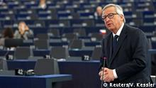 29.04.2015+++ European Commission President Jean-Claude Juncker addresses the European Parliament during a debate on the latest tragedies in the Mediterranean and E.U. migration and asylum policies in Strasbourg, France, April 29, 2015. REUTERS/Vincent Kessler
