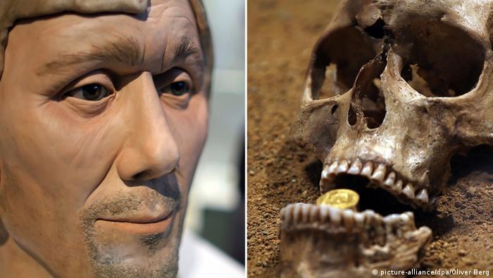 Bildkombo - das rekonstruierte Gesicht eines 1400 Jahre alten Rheinländers