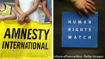 Combobild Amnesty International und Human Rights Watch Logos