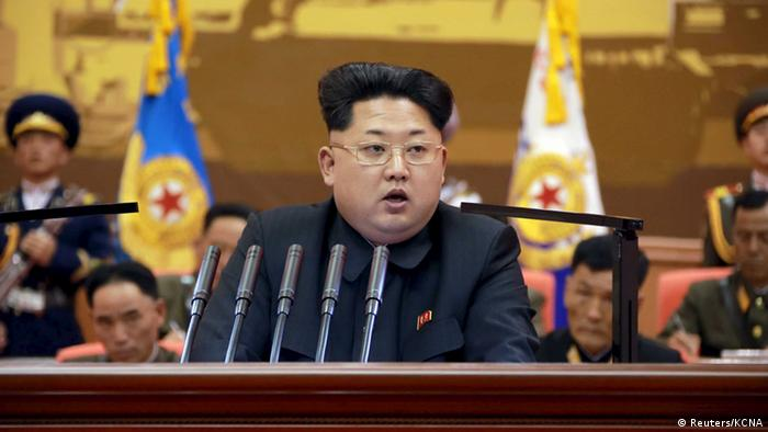 Nordkorea Kim Jong Un Rede vor Offizieren