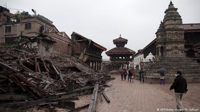 Bildergalerie Nepal Erdbeben Zerstörung UNESCO Erbe in Bhaktapur