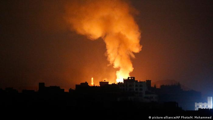 Night time air strike on Sanaa in 2015