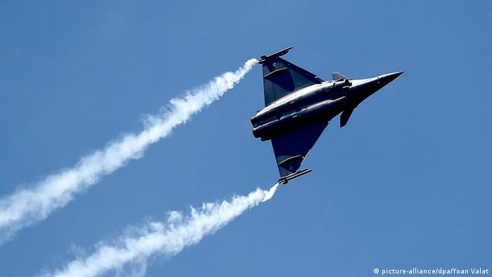 French Rafale fighter airplane performing at the Paris Air Show