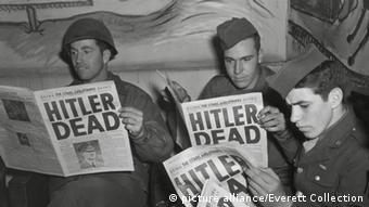 1945 newspaper declaring that Adolf Hitler is dead