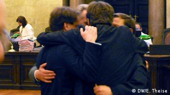 Дмитрий Фирташ и его адвокаты после обнародования решения суда в Вене