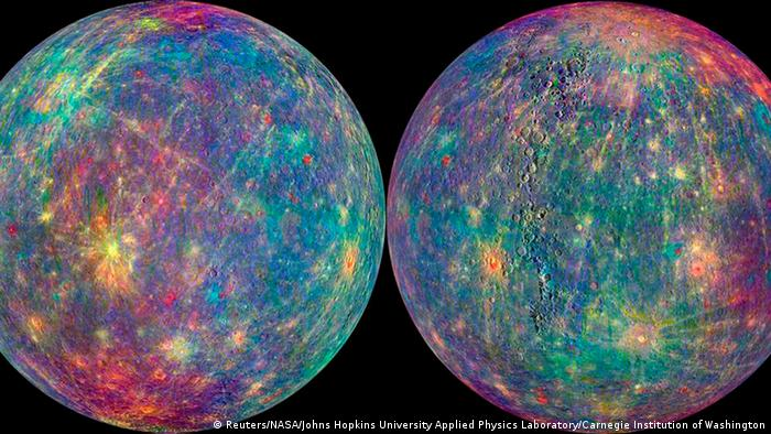 A combination image by NASA from the Mercury Atmosphere and Surface Composition Spectrometer (MASCS) instrument aboard NASA's MESSENGER spacecraft shows the surface of the planet Mercury