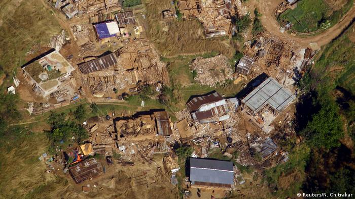 Collapsed village houses are pictured from a helicopter after last week's earthquake at Sindhupalchok District, Nepal May 3, 2015. (Photo: Navesh Chitrakar, Reuters)