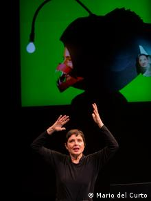 Isabella Rossellini with her arms raised