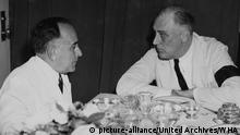 President Roosevelt and President Vargas. President Getulio Vargas of Brazil confers with President Roosevelt at a conference aboard a U.S. destroyer in the Potengi River harbour at Natal, Brazil 1943